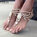Chran Nova Moda Nupcial Barefoot Sandálias Sapatos de Casamento, Jóias pé Jóias PRAIA Tornozeleira de Cristal Strass Charme Bracletet