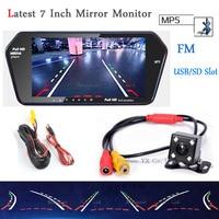 7'' TFT LCD Car Mirror Monitor High Resolution 1024*600 Screen Bluetooth/MP5 Usb/TF Slot Car Rear View camera Night Vision LED