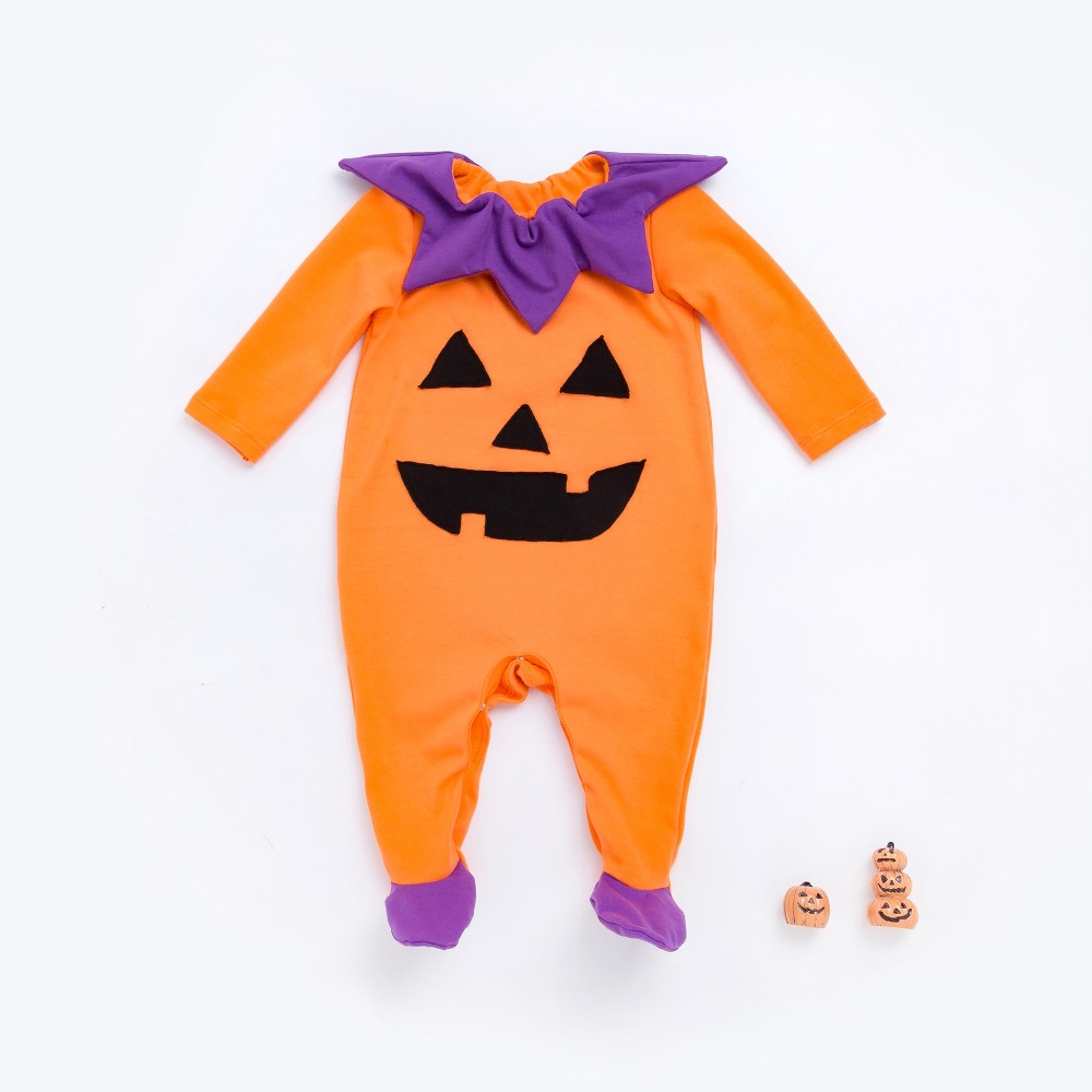 2017 New Horrible orange demon pumpkin style infant rompers fashion baby girls boys clothes summer autumn kids jumpers 17S907