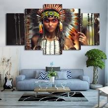 Moderne Frames voor het schilderen modulaire goedkope foto's 5 Panel Indian Feather meisje kunst aan de muur voor de woonkamer Home Decor Artwork Canvas