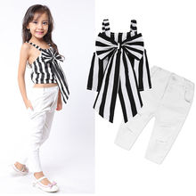 Baby Girls Clothing Suits Striped Sleeveless Big Bow Tops+ White Hole Jeans Pants 2pcs Bebe Girls Clothes Sets girls clothing sets for girls summer sleeveless striped tops