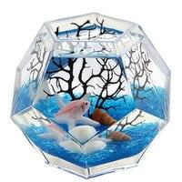 Polyhedron Glass Fish Tank Bowls With Decorations Mini Aquarium Fish Breeding Box For Home Office Handmade Desk Aquarium Aquario