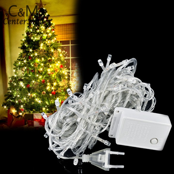 6Pcs/Lot 10M 100 LED White Party Christmas Wedding Decorative Lights Twinkle String EU 25