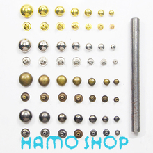 1 Press Tool+200P/lot 12mm Mix Color Metal Round Rivet Spike Studs Rapid Punk Rock Leather Craft DIY Fashion Biker Free Shipping