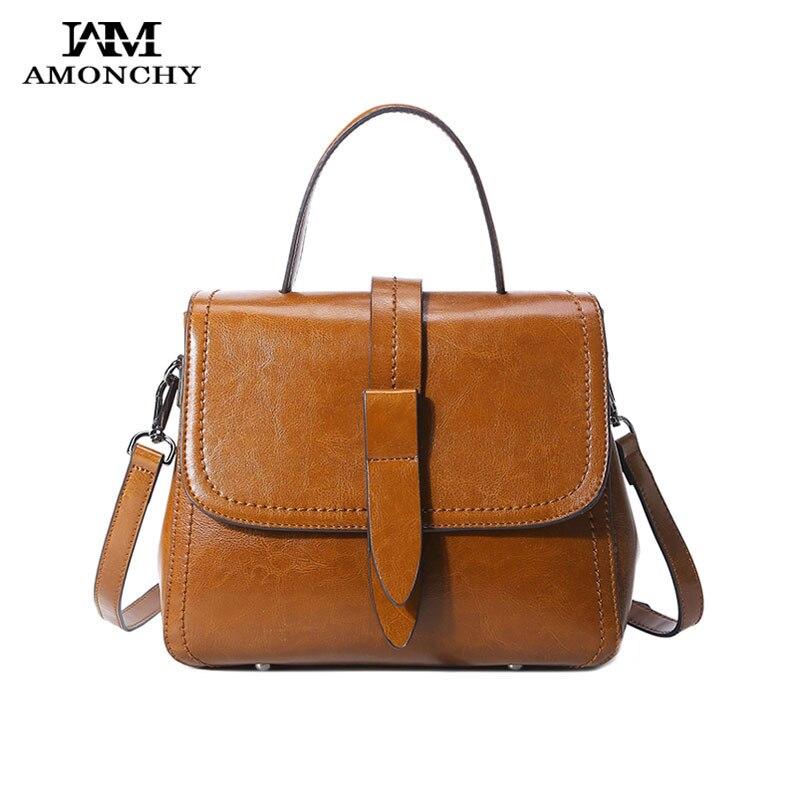 AMONCHY Autumn 2017 Women Bags Genuine Leather Tote Bag Fashion Ladies Shoulder Messenger Bags Oil Wax Cow Leather Handbags Hot