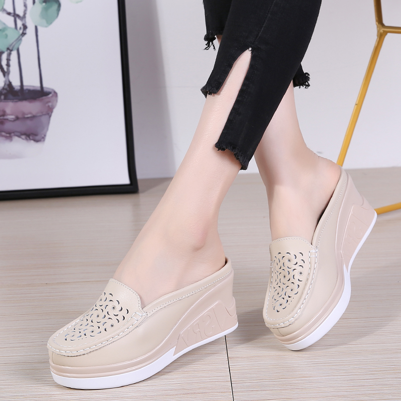 plardin Summer Women Platform Slipper pattern Floral Flats Breathable Leather Casual Shoes Slip-on comfortable Nurses shoes cut