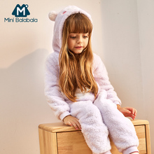 Mini Balabala Kids Boy Girls Soft Fleece One-piece Pajamas Children Sleepwear Sleep Blanket Sleepers Cartoon Kigurumi Animal Pjs