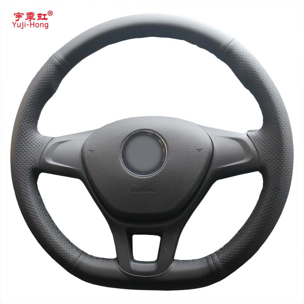 Yuji-Hong Artificial Leather Car Steering Wheel Covers Case For Volkswagen VW Golf 7 2014 Hand-stitched DIY Cover