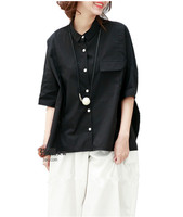 Yesno QO4 Kadınlar Tops Bluz Düğme Aşağı Gömlek Yaka Kısa Kollu Flap Cep
