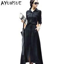 Новое поступление европейский стиль женское длинное платье Осень Зима Повседневное с длинным рукавом размера плюс однобортное вечернее платье S3395