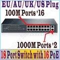 Макс. PoE 119 Вт 16 портов POE Коммутатор с 16 POE портов питания для ip-камера, беспроводной точки доступа, 16-портовый PoE Коммутатор с 2 Gigabit RJ-45 порт