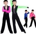 Criança meninos trajes de dança latina roupas definir longas mangas de camisa + calças ternos do menino traje de Prática da Dança Crianças dancewear