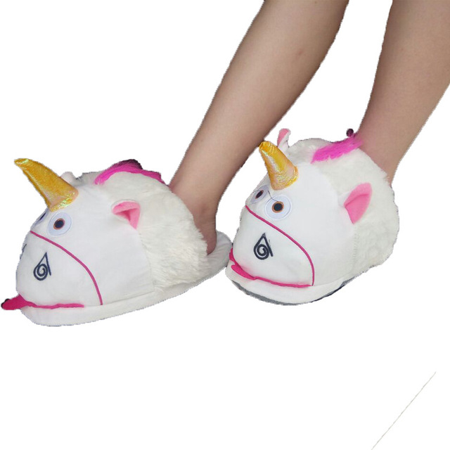 Adult Unicorn Home Slippers Women Unicornio Pantufa Cute Shoes Cartoon Fur Unisex Indoor Chausson Licorne Size 36-41 Chinelo