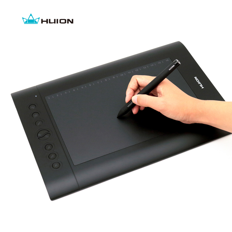 Huion H610 Pro Graphic Tablet Digital Tablet Drawing Pen Tablet 8 Express-keys with Rechargeable Pen Black huion h610 8 expresskey usb graphic pen tablet black
