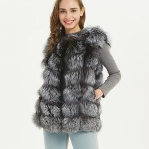 Image 2 - maomaokong real fox fur coat women winter natural fur vest coat natural real fur coat Vests for women   Sleeveless jacket women
