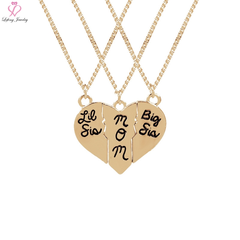 Lefeng Trendy Beautiful Big Sis Mom Mother Day Gifts Jewelry 3 Splicing Love Necklace Heart Shape Top Quality Family Gift