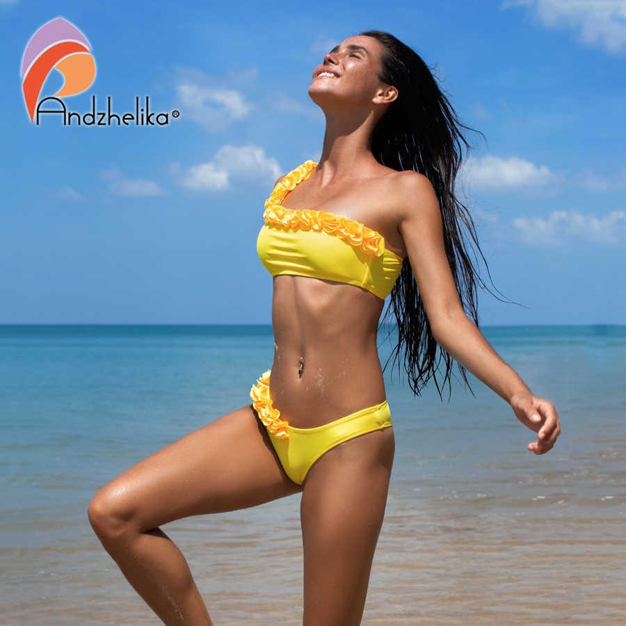 Andzhelika Nuovo Solido Bikini Sexy Una Spalla Bikini Set Donne Floreale del Costume Da Bagno Brasiliano Costume Da Bagno Beach Costume Da Bagno Monokini