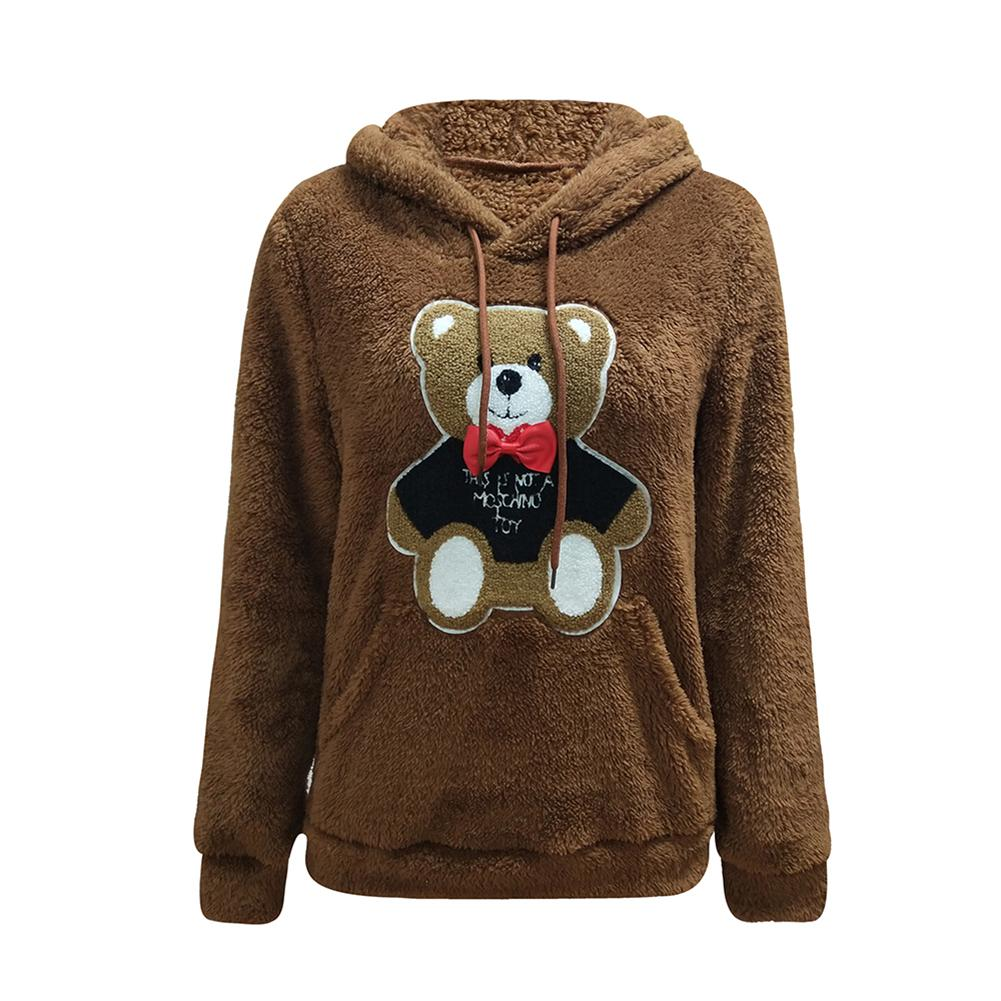 Autumn Winter Animal Pattern Cartoon Hooded Pullovers Long Sleeved Sweatshirt Warm Thick Outwear Casual Loose Soft Overcoat Tops