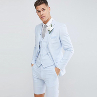 Mens Suits with Short Pants Wedding Suits Groom Tuxedos 3 Pieces Jacket+Pants+Vest Summer Groomsmen Suits for Party