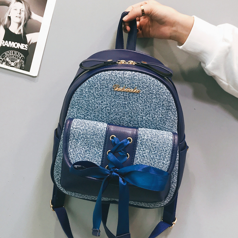 Beibaobao Fashion Simple Preppy Style Small Backpack for Teenage Girl Casual Schoolbag Silk Bow Design Shoulder Bag 4