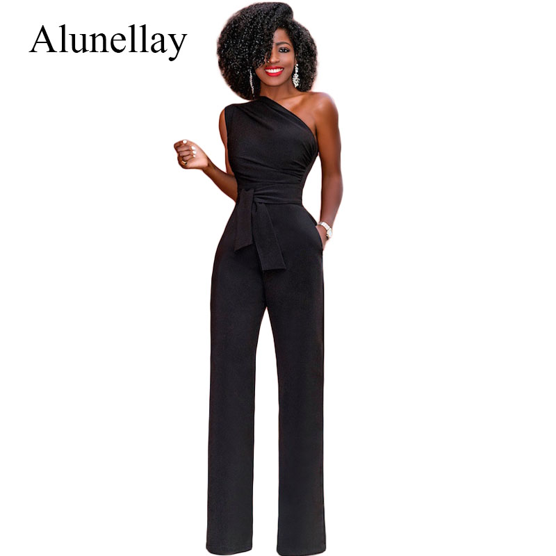 Alunellay One Shoulder Women Jumpsuits Summer Sleeveless Wide Leg Pants Casual Party Club Rompers Womens Jumpsuit Black Red Blue