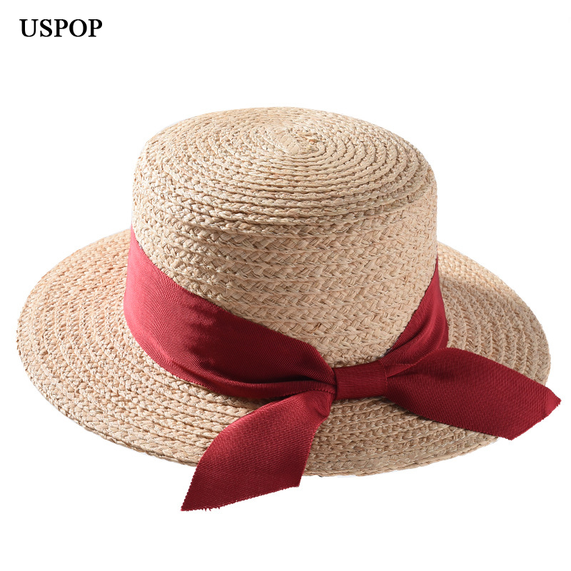 Kreativ Uspop 2019 Neueste Bast Hut Natürliche Stroh Hut Mode Frauen Bast Stroh Sonnenhut Casual Bogen Strand Hut Schatten So Effektiv Wie Eine Fee Bekleidung Zubehör