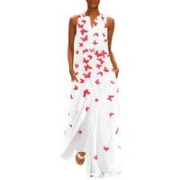 Printed White Maxi Dress Women Long Sleeveless Summer Dress Plus Size Ladies Beach Boho Dress