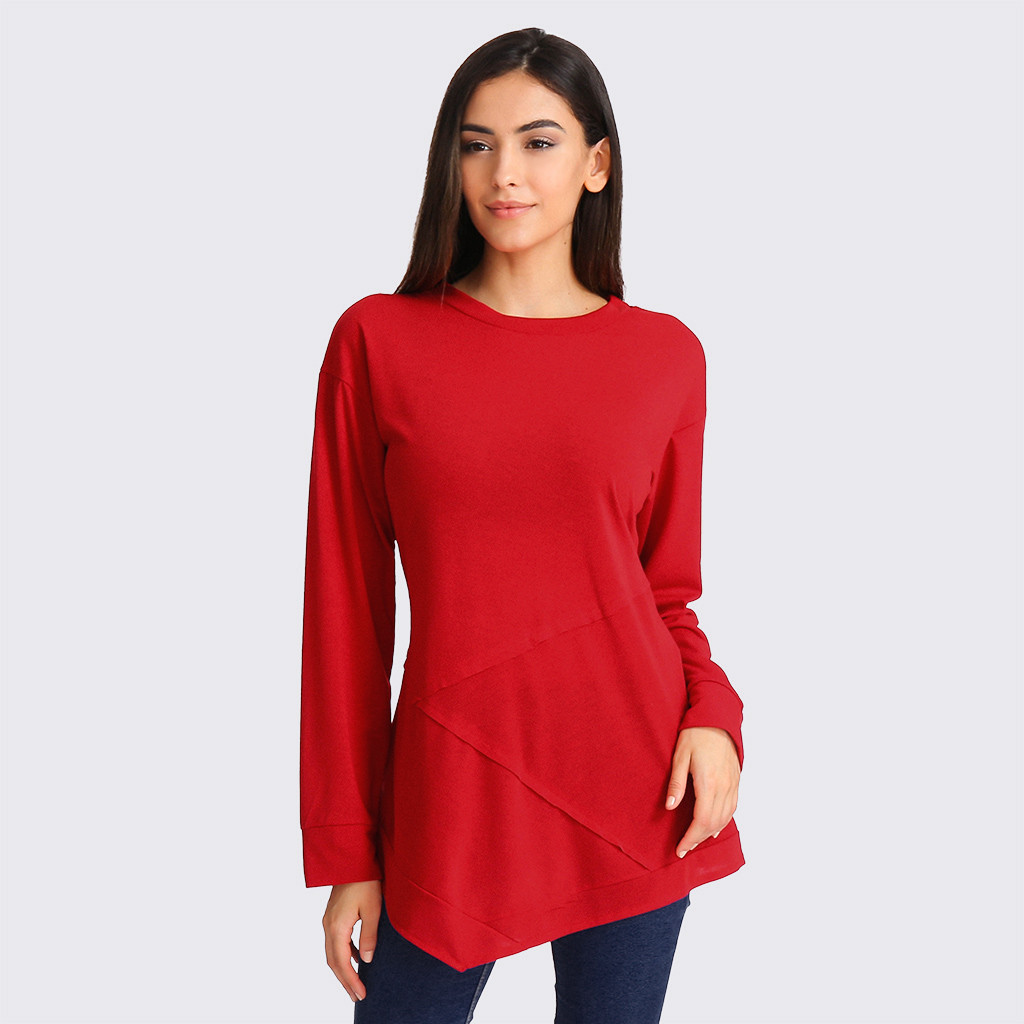 Women Solid color shirt red T-shirt Fashion Patchwork Pullover Shirt Womens Casual Long Sleeve O Neck Tops Shirts ropa mujer