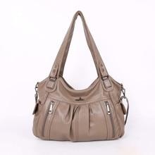 Fashion High Quality Handle Satchel 2 Top Zippers Shoulder PU Washed Leather Tote Bag Women Handbags Lady Shoulder Bags Mochila недорого