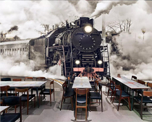 Beibehang Wallpaper 3D retro nostalgic steam train cafe bar mural background wall home decor living room bedroom 3d wallpaper 3d modern europe architecture building wallpaper mural rolls for wall hotel living room cafe restaurant bedroom decor