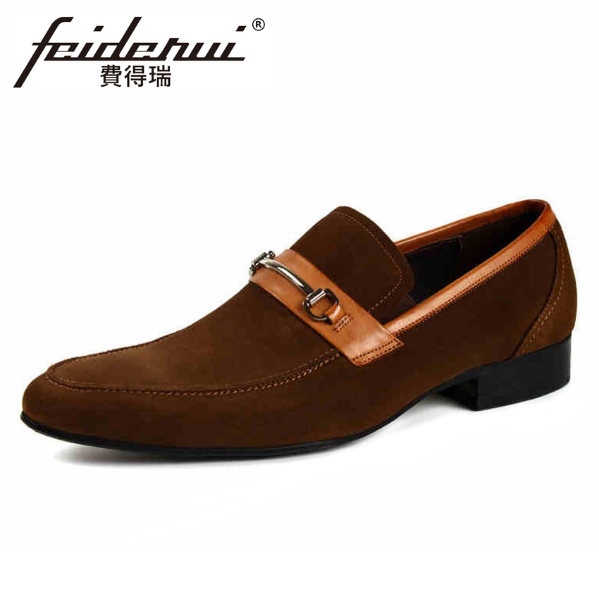 New Arrival Round Toe Slip on Men's Wedding Party Loafers Height Increasing Cow Suede Leather Man Handmade Casual Shoes YMX398 brand new men genuine leather flats man casual shoes loafers cow suede leather weddng party black handmade formal shoe d966 3