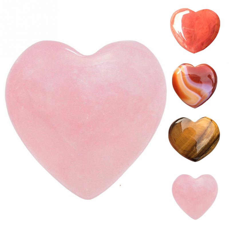 Hot Sale Natural Rose Quartz Heart Shaped Striped Agate Crystal Carved Palm Love Healing Gemstones Drop Shipping #0612