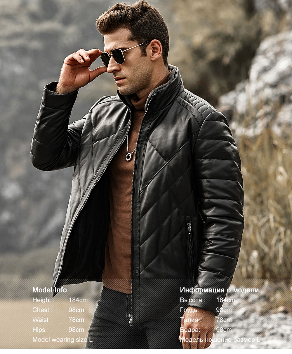 HTB1Wwb8FQyWBuNjy0Fpq6yssXXag FLAVOR Men's Real Leather Down Jacket Men Genuine Lambskin Winter Warm Leather Coat with Removable Standing Sheep Fur Collar