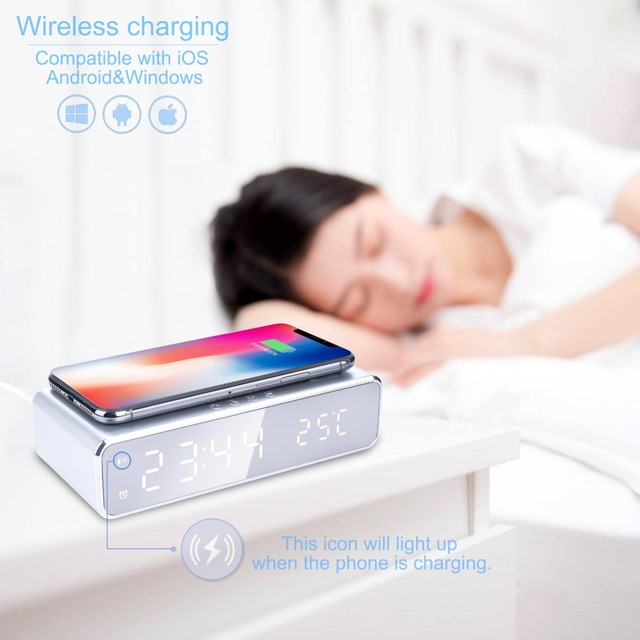 Electric LED alarm clock with phone wireless charger Desktop digital thermometer clock HD mirror clock with date 12/24 h switch 5