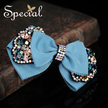 Special Brand Fashion Bowknot Hair Pins & Clips AAA Zircon Hair Accessories Rhinestones Hairwear Jewelry Gifts for Women FS16090