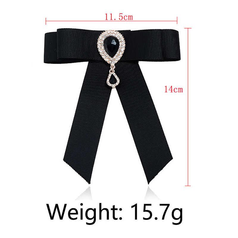 โบว์สีดำ Vintage เข็มกลัดริบบิ้น Bowknot Retro Pins Corsage เสื้อ Tie Cravat แต่งงาน Broches เครื่องประดับ Gift Party