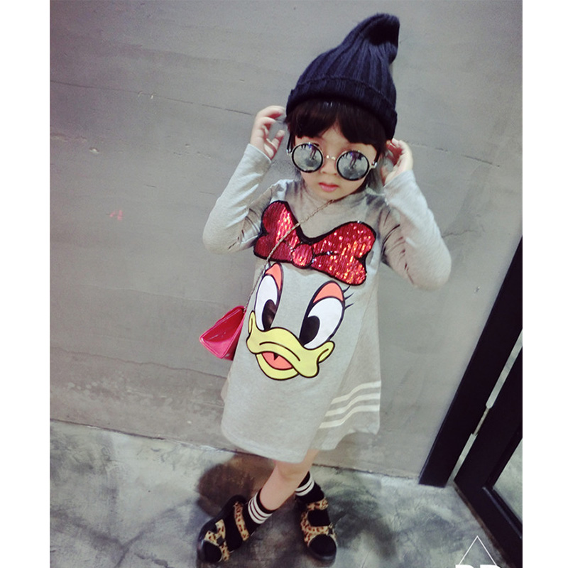 Girls Clothes Long-sleeved T-shirt Dress Cartoon Sequins Applique Princess Dress Baby3-7years Old Fashion Loose Quality Clothing