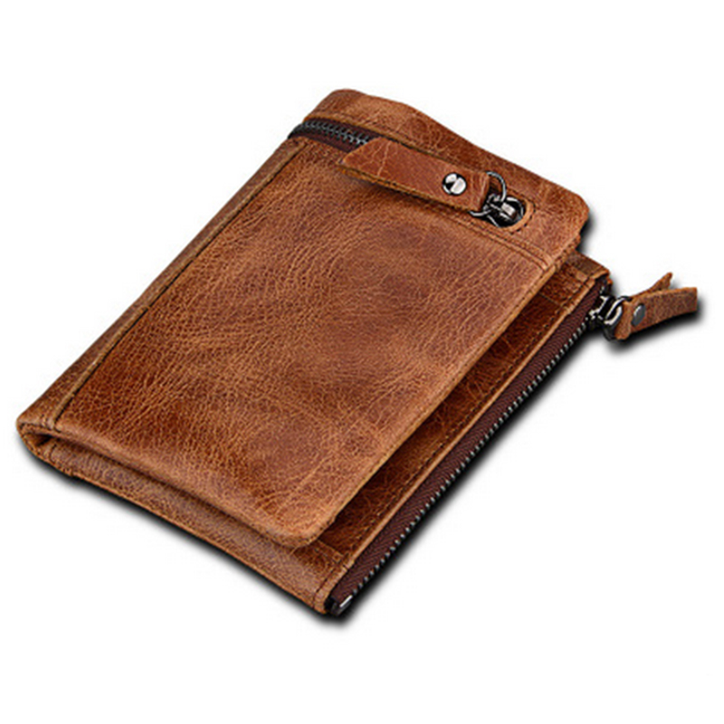все цены на 100% Cowhide Real Leather Bifold Short Coin Wallets ID Credit Card Holder Men's Purses Thin Short Male Money Bag онлайн