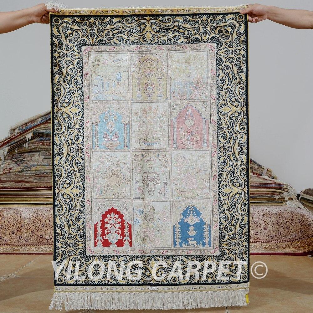Yilong 2.7 'x4' tapis de soie persan quatre saisons vantage exquis noué à la main Tabriz tapis de soie (0541)