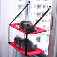 Cats Hammock Bed Double Layer Window Hanging Pet Bed Soft Comfortable Warm Cage Cat Lounger Suction Cups Rest House CW044