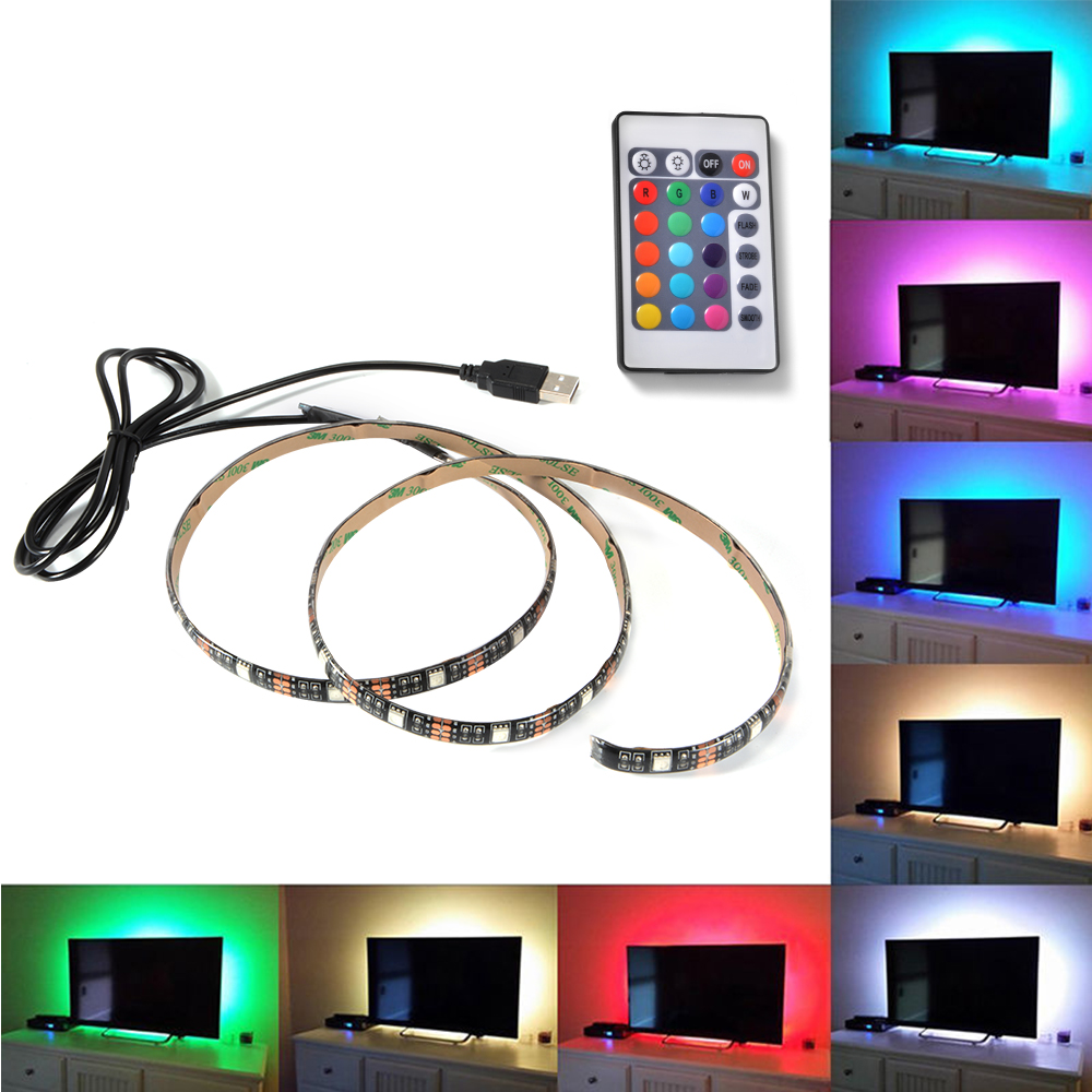 1m 2m 3m 4m 5m DC 5V RGB Flexible USB led strip light 5050 SMD sting IP20 Ribbon Adhesive tape TV Backlight 24Key RF Controller
