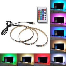 1 м 2 м 3 м 4 м 5 м DC 5 В RGB гибкая USB светодио дный полосы света 5050 SMD Стинг IP20 лента клейкая лента ТВ Подсветка 24Key RF контроллера