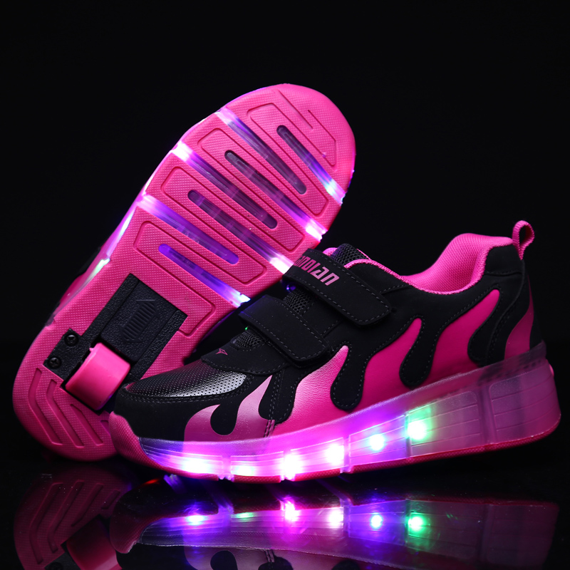 Pink Gold Children Glowing Sneakers Kids Roller Skate Shoes Children Led Light Up Shoes Girls Boys Sneakers With Wheels 2020