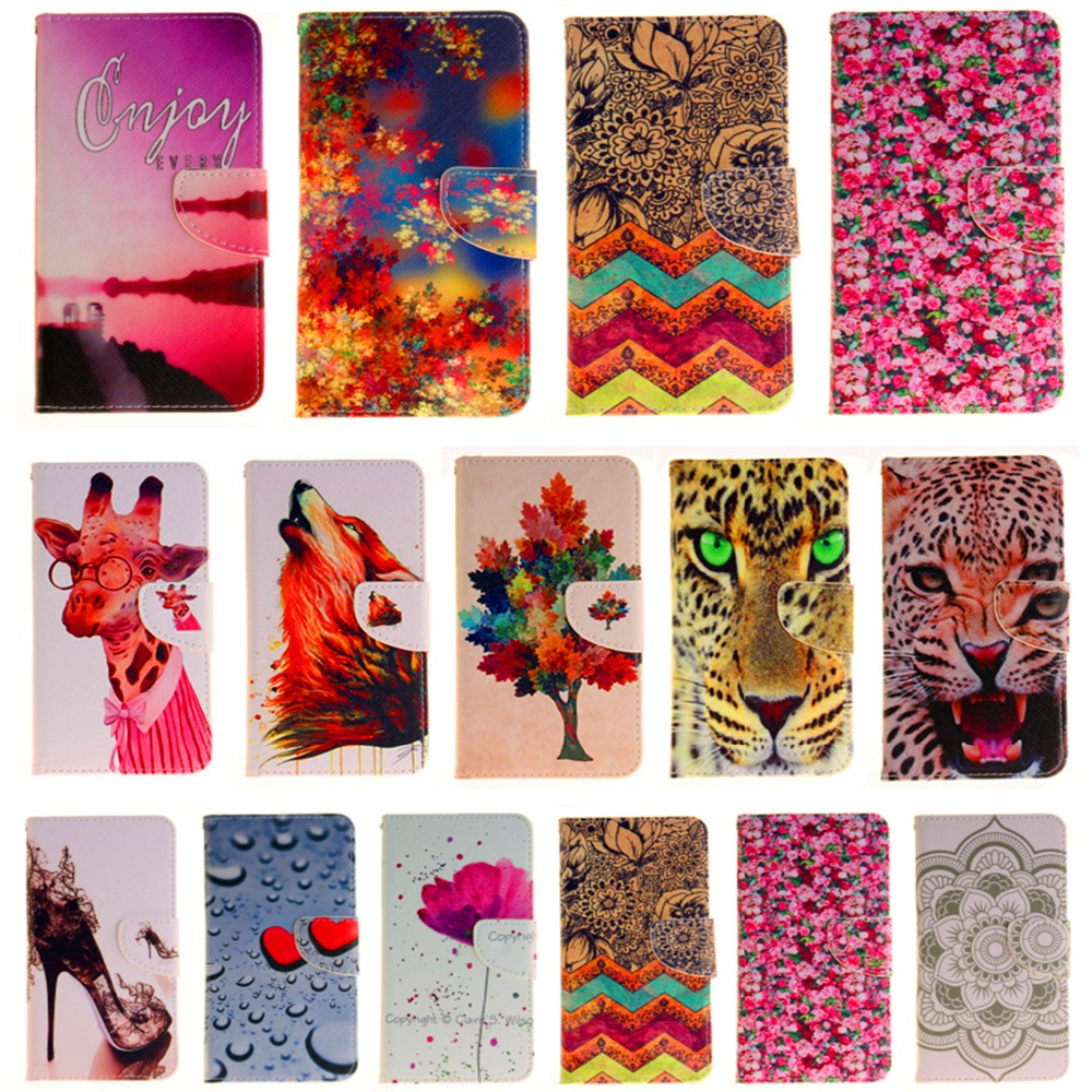 Color painting Bracket Wallet Leather Case For iPhone 7 6 6S 5C 5S 5 SE 4S 6S 7 plus Touch 5 Flip Protective phones Cases Cover