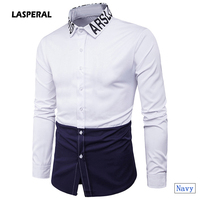 LASPERAL Fashion Men Shirts Blue Patchwork Characteristic Neckline Letter Printing Shirts Long Sleeves Turn-down Collar Tops XXL