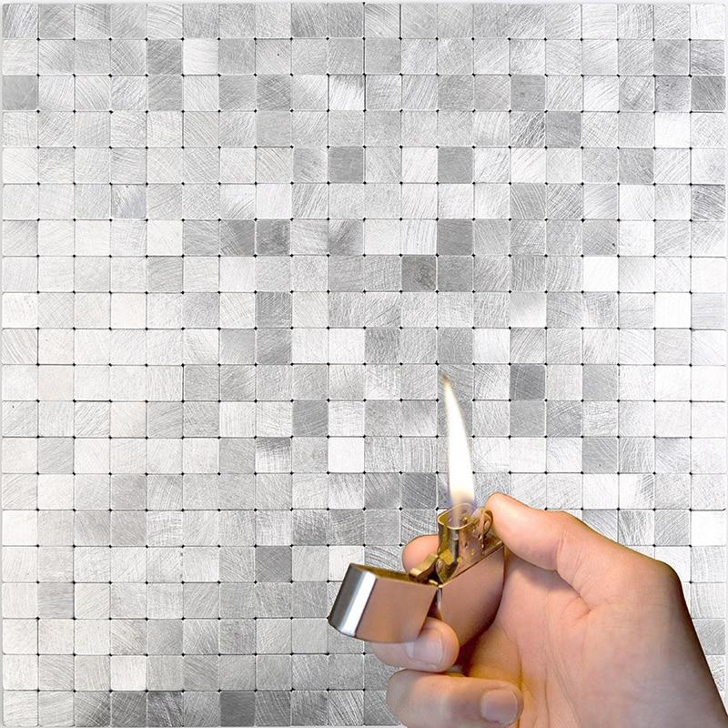 Homey самоклеющиеся наклейки на стену для кухни backsplash гостиная Современное украшение шлифование металла мозаичная плитка 12 дюймов 4 шт|Наклейки на стену|   | АлиЭкспресс