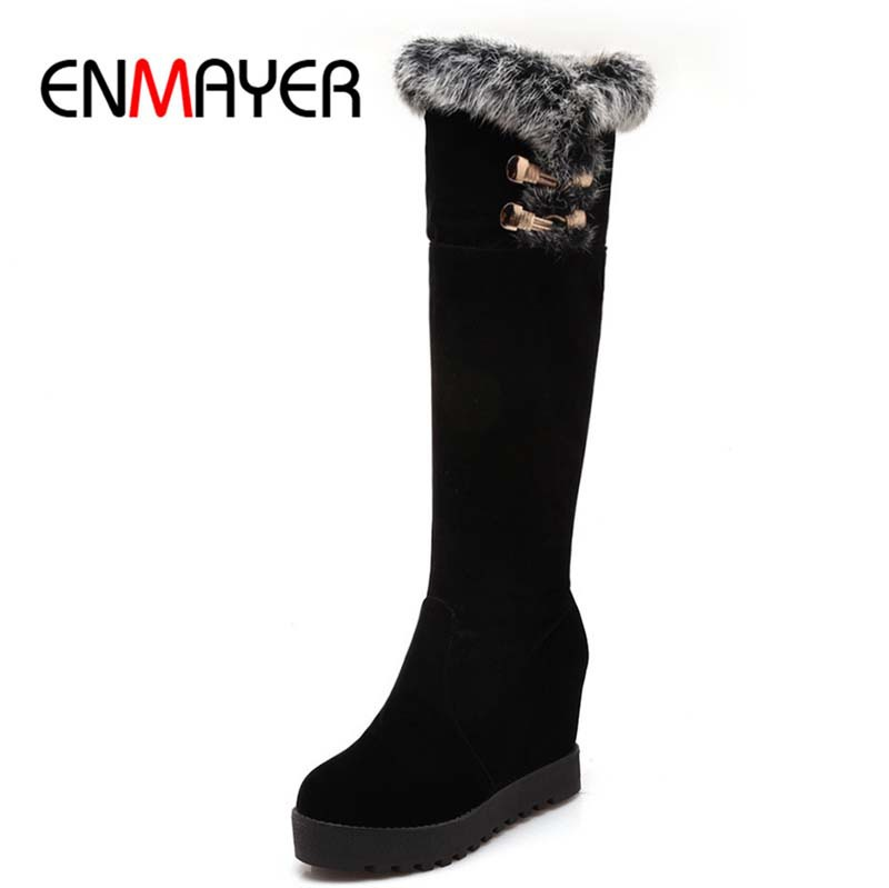 ENMAYER new platform boots size 34-43 fashion knee high boots for women height increasing round toe winter boots sale