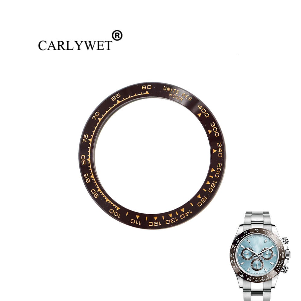 CARLYWET Wholesale Replacement High Quality Pure Ceramic Brown With Gold Writings 38.6mm Watch Bezel for DAYTONA 116500 - 116520