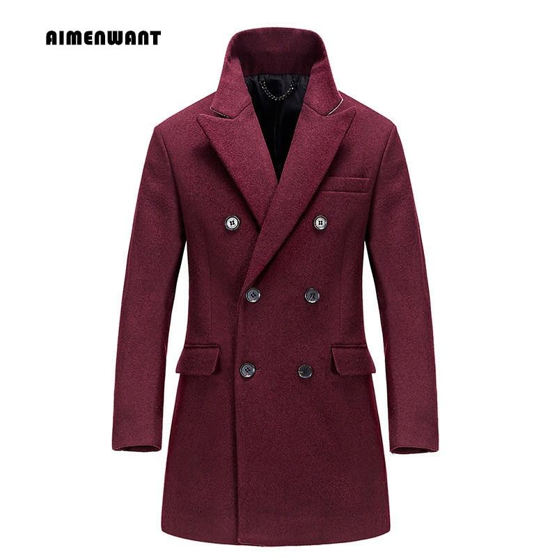 Здесь продается  AIMENWANT Brand Double Breasted Slim Wine Red Woolen Coat for mens British Business Medium Camel Wool Trench Man Top Clothing  Одежда и аксессуары