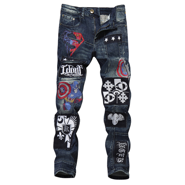 1770d392e21 New Brand Fashion Designer Men's Skinny Motorcycle Jeans Male Casual Distressed  Ripped Badge Embroidered Patches Denim